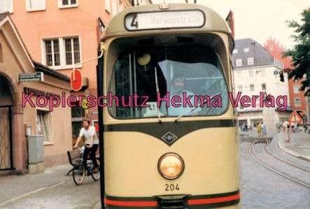 Freiburg Straßenbahn - Linie 4 - Wagen Nr. 204 mit Wagenführer