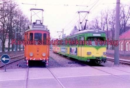 Karlsruhe Straßenbahn - Durlach-Rheinhafen - Spiegelwagen Nr. 80 und Wagen Nr. 109