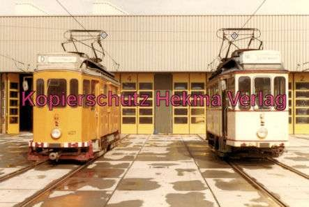 Karlsruhe Straßenbahn - Depot West - Tw. Nr. 407 und Tw. Nr. 92 - 2