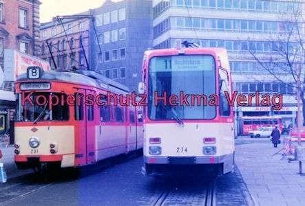 Mainz Straßenbahn - Linie 11 Wagen Nr. 274 und Linie 8 Wagen Nr. 231