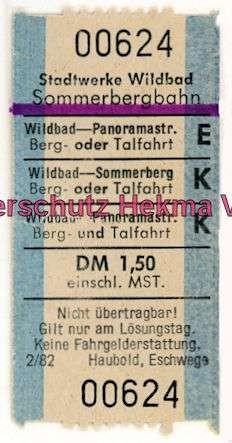Wildbad Sommerbergbahn - Fahrkarte