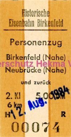 Birkenfeld (Nahe) Eisenbahn -Fahrkarte