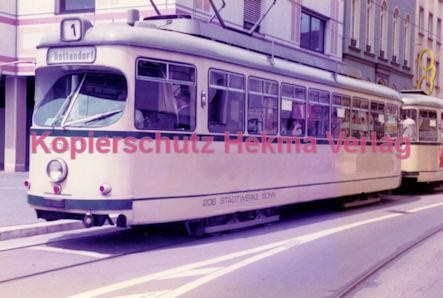 Bonn Straßenbahn - Rheinuferbahnhof - Linie 1 Wagen Nr. 206