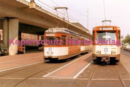Frankfurt Straßenbahn - Theaterplatz - Linie 21 Wagen Nr. 208 und Linie 22 Wagen Nr. 697