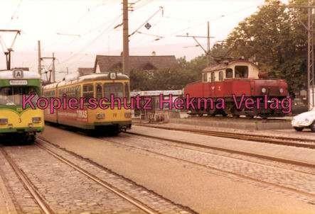 Karlsruhe Straßenbahn - Bahnhof Ettlingen Stadt - Wagen Nr. 3, Wagen Nr. 19 und E-Lok