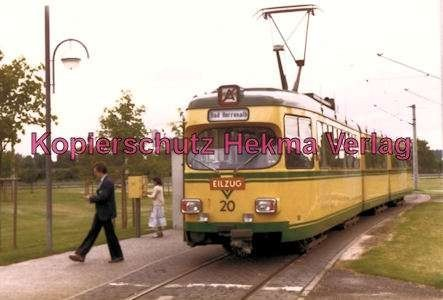 Karlsruhe Straßenbahn - Haltestelle Neureut-Kirchfeld Endschleife - GT. Nr. 20 als Eilzug - 1