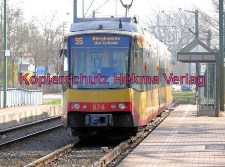 Karlsruhe Straßenbahn - Wörth - Haltestelle Wörth-Bürgerpark - AVG - S5 Wagen Nr. 874