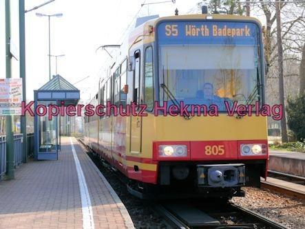 Karlsruhe Straßenbahn - Wörth - Haltestelle Wörth-Bürgerpark - AVG - S5 Wagen Nr. 805 - Bild 1
