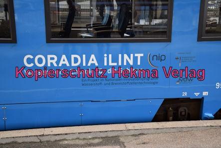 Ludwigshafen Eisenbahn - Hbf. Ludwigshafen Gleis 5 - Werbefahrt Wasserstoffzug Alstom - Coradia iLint - Zug 654 602