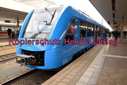 Ludwigshafen Eisenbahn - Hbf. Mannheim kurzer Halt - Werbefahrt Wasserstoffzug Alstom - Coradia iLint - Zug 654 602