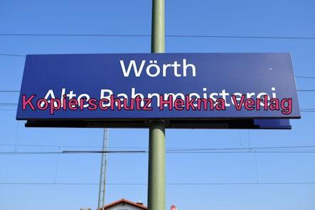 Karlsruhe Straßenbahn - Haltestelle Wörth Alte Bahnmeisterei - Haltestellenschild