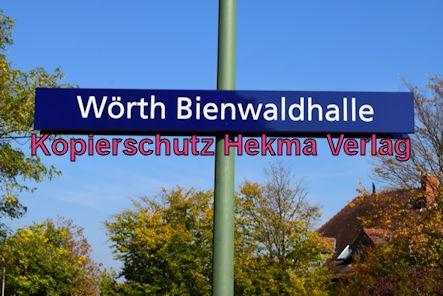 Karlsruhe Straßenbahn - Haltestelle Wörth Bienwaldhalle - Haltestellenschild