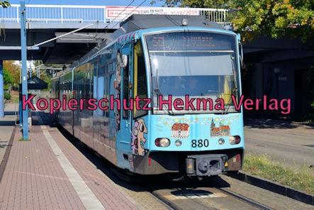 Karlsruhe Straßenbahn - Haltestelle Wörth Rathaus - S5 Wagen 880