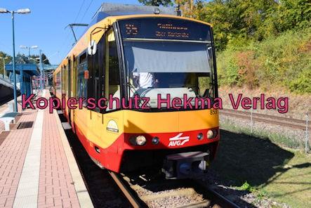 Karlsruhe Straßenbahn - Haltestelle Wörth Badepark (Endstation) - AVG S5 Wagen 853