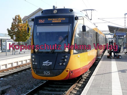 Karlsruhe Straßenbahn - Straßenbahn Bahnhof Wörth - AVG S52 Zug 925