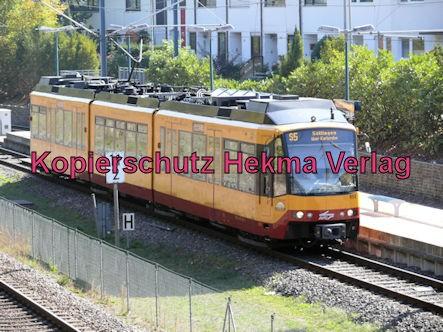 Karlsruhe Straßenbahn - Straßenbahn Wörth - Haltestelle Badepark (Endstation) - AVG S5 Wagen 853