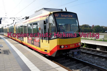 Karlsruhe Straßenbahn - Straßenbahn Wörth - Haltestelle Zügelstraße - S52 Zug 909