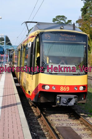 Karlsruhe Straßenbahn - Straßenbahn Wörth - Haltestelle Badepark (Endstation) - Wagen 869