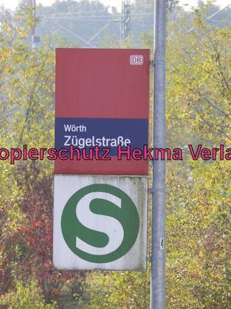 Karlsruhe Straßenbahn - Straßenbahn Wörth - Haltestelle Zügelstraße - Bahnhofsschild