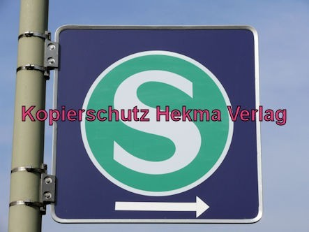 Karlsruhe Straßenbahn - Straßenbahn Wörth - Haltestelle Mozartstraße - Schild S (Bahn)