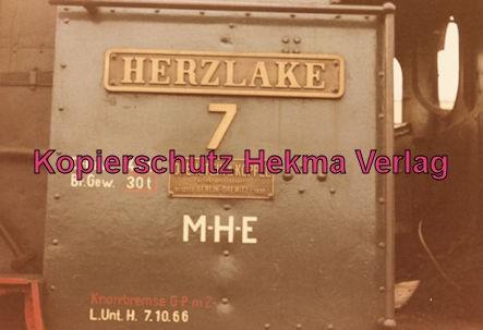 Bentheimer Eisenbahn A. G. - Bahnhof Haselüne - Lok HERZLAKE 7 - Schild
