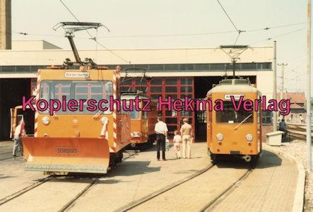 Karlsruhe Straßenbahn - 25 Jahre AVG Jubiläum- Ettlingen Stadt - Depot - Winterdienst Wagen 397 und Wartungsdienst Wagen 398