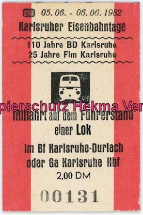 Karlsruhe Eisenbahn - Jubiläum 110 Jahre Eisenbahndirektion Karlsruhe - Mitfahrt auf einem Führerstand einer Lok