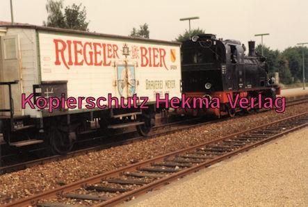Kaiserstuhlbahn - Rebenbummler - Bahnhof Breisach - Lok 384 mit einem Bierwagen