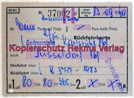 Rheingoldzug von Düsseldorf nach Arnheim - Fahrkarte