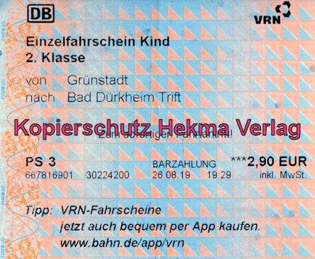 Bad Dürkheim Eisenbahn - Bahnhaltepunkt Bad Dürkheim-Trift - Fahrkarte Grünstadt nach Bad Dürkheim-Trift