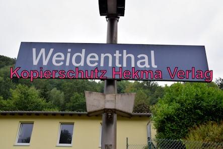 Weidenthal Pfalz Eisenbahn - Bahnhof Weidenthal - Bahnhofsschild