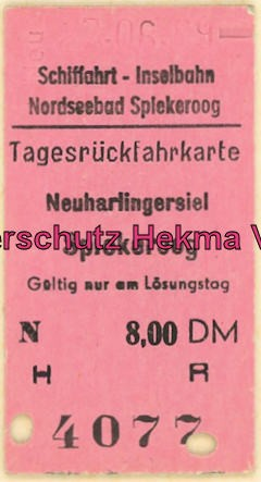 Spieckeroog Inselbahn - Schiff - Fahrkarte
