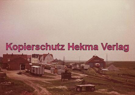 Spieckeroog Inselbahn - Betriebsgelände mit der Wagenhalle