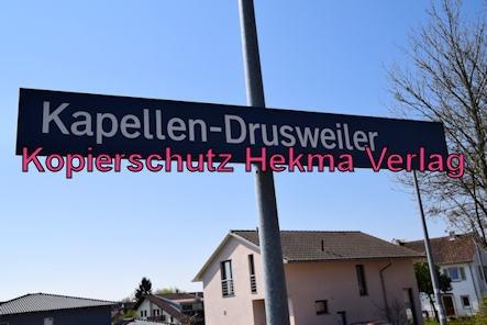 Kapellen-Drusweiler (Pfalz) Eisenbahn - Bahnhaltepunkt Kapellen-Drusweiler - Bahnhofsschild